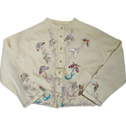 Vintage Helen Bond Caruthers Ivory Cashmere Butterfly Sweater