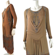 1920's Vintage Art Deco Cocoa And Chocolate Silk Dress With Cut-Steel Beadwork And Silver Meta