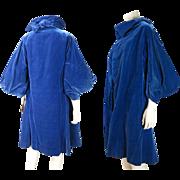 Stylish Vintage 1930's Henri Bendel Blue Silk Velvet Coat With Silk Charmeuse Lining