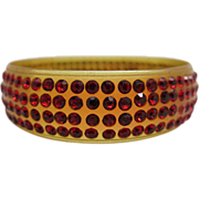 Vintage 1930's Amber Celluloid Bangle Bracelet With Four Rows Of Red Rhinestones