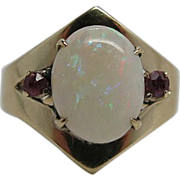 Vintage 18K Gold Natural Opal Ring With Sapphire Side Stones