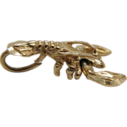 SOLD Vintage 14K Yellow Gold Mechanical Lobster Charm
