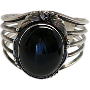Vintage Navajo Sterling Silver And Black Onyx Cuff Bracelet By Justin Morris