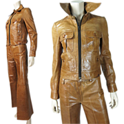 1970's Vintage French Glove Leather Two-Piece Men's Super Fly Suit