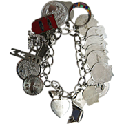 Vintage Sterling Silver Charm Bracelet With 22 Charms - 68.5 Grams