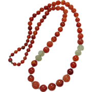 Antique Chinese Carved White Jadeite And Carnelian Necklace 31-Inches Long