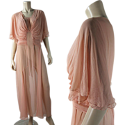 "Vintage 1930's Pink Tissue Silk Chiffon Draped ""Goddess"" Evening Dress"