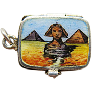 Vintage 1920's Enameled 800 Silver Mechanical Charm Of Moses In A Basket With Removable Infant