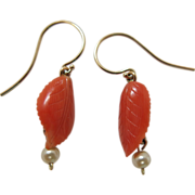Antique Edwardian 14K Gold Carved Coral Earrings With French Wires
