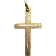 1960's Vintage 14K Yellow Gold Cross Charm