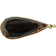 Vintage 10K Gold 36 Carat Smoky Quartz Pendeloque Pendant