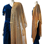 Rare Art Deco Vintage 1920's Tangerine Orange Egyptian Assuit Shawl