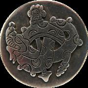 Vintage William Spratling First Design Period 980 Silver Mexican Quetzalcoatl Pin / Brooch