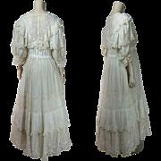 Sumptuous Antique Circa 1910 Belle Epoque Lace Gown With Original Petticoat
