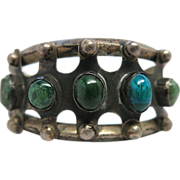 1930's Vintage Mexican Sterling Silver And Chrysocolla Cuff Bracelet In Native American Design