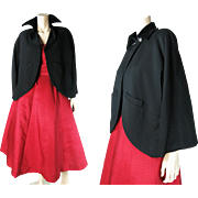 Chic Vintage 1940's Adele Simpson Fine Black Wool And Velvet Evening Cape