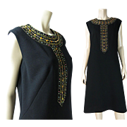Smart 1960's Black Wool Knit Shift Dress With Beads, Sequins And Rhinestones In Larger ...