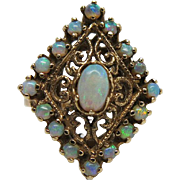 Vintage 14K Yellow Gold Opal Cluster Cocktail Ring With Filigree