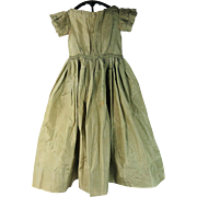 Antique 1840's Sage Green Silk Youth Dress