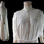 Crisp Antique Edwardian Embroidered Linen Tea Dress With Irish Crochet Lace