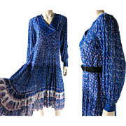 1970's Vintage Sheer Gauzy Cotton Bohemian Dress With Indian Print And Her Excellency Label