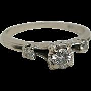 Vintage 14K White Gold Diamond Engagement Ring By StyleCrest