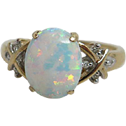 Vintage 10K Yellow Old Created Opal And Diamond Ring