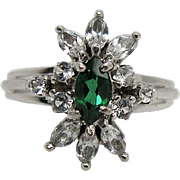 Vintage 14K White Gold, Emerald And Rock Crystal Cluster Ring
