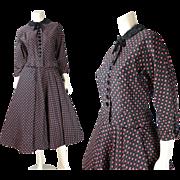 Smart Vintage 1940's Printed Cotton Faille Skirt Suit