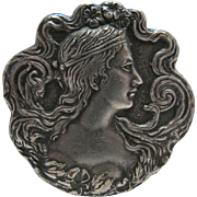 Antique Art Nouveau Sterling Silver Lady Pin / Brooch By Fishel And Nessler