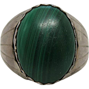 Chunky Vintage Native American Silver And Malachite Ring Size 16