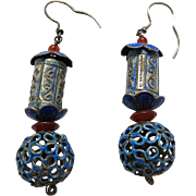 Antique Chinese Enameled Silver Dangle Earrings With Original Ear Wires