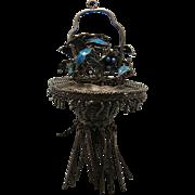 Antique Chinese Enameled Silver Flower Basket Pendant