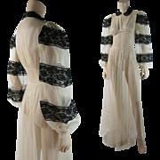 Romantic 1930's Vintage White Chiffon And Black Lace Dress
