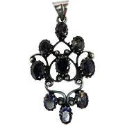 Antique Victorian Sterling Silver And Iolite Pendant