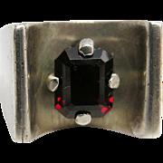 Vintage Sterling Silver Pyrope Garnet Modernist Ring