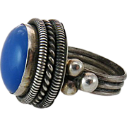 Vintage Sterling Silver Blue Chalcedony Ring