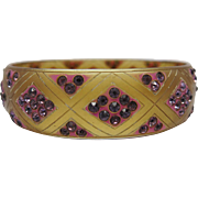 SOLD Art Deco Vintage Carved And Dyed Apple Juice Celluloid Bangle Bracelet With Purple Rhines