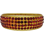 Art Deco Vintage Apple Juice Celluloid Bangle Bracelet With Ruby Red Rhinestones