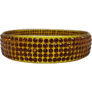 Art Deco Vintage Apple Juice Celluloid Bangle Bracelet With Gold Rhinestones