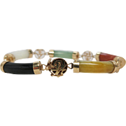 Vintage Chinese 18K Gold Mixed Gemstone Bracelet With White Jadeite