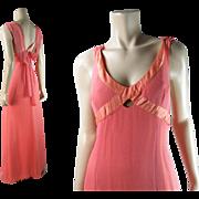 Elegant 1970's Draped Silk Chiffon Crepe Evening Dress