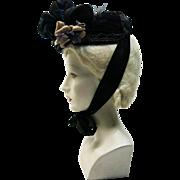 Antique 1880's Profusely Embellished Victorian Velvet And Silk Bonnet