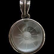 Vintage Sterling Silver And Rock / Quartz Crystal Intaglio Sun Pendant