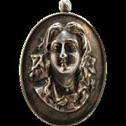Impressive Antique Art Nouveau Lady Pendant / Brooch In Heavy Sterling Silver
