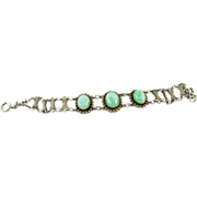 Vintage Chinese Sterling Silver And Jade Cabochon Bracelet