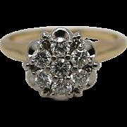 Vintage 14K Yellow Gold .50 Carat Diamond Cluster Ring Signed Jabel