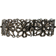 1930's Vintage Mexican Sterling Silver Panel Bracelet - Pre-Eagle Mark