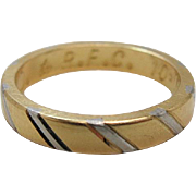 18K Yellow Gold And Platinum Artcarved Ring / Wedding Band