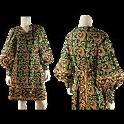 Exotic Vintage 1960's India Print Wrap Dress With Bishop Sleeves